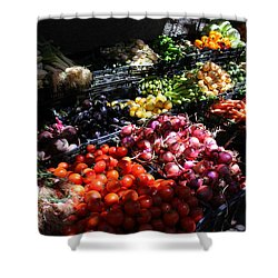 Shower Curtain featuring the photograph Moroccan Vegetable Market by Ramona Johnston