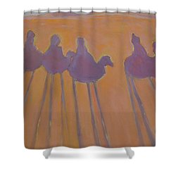 Morocco, Camels, Riders And Shadows. Shower Curtain