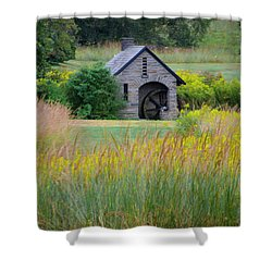 Shower Curtain featuring the photograph Morris Arboretum Mill In September by Bill Cannon
