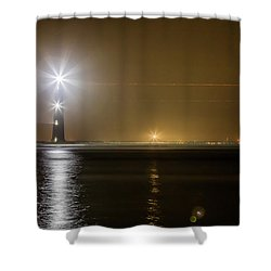 Morris Island Light House 140 Year Anniversary Lighting Shower Curtain