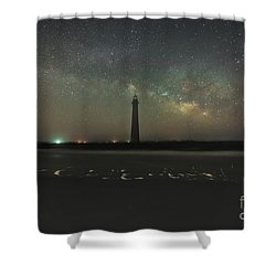 Morris Island Light House Milky Way Shower Curtain by Robert Loe