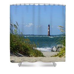 Morris Island Lighthouse Walkway Shower Curtain