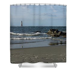 Shower Curtain featuring the photograph Morris Lighthouse by Sandy Keeton