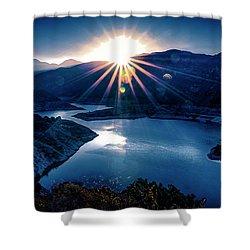 Morris Reservoir Sunrise Shower Curtain