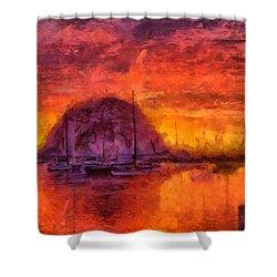 Morro Bay Marina Shower Curtain