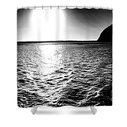 Morro Rock, Black And White Shower Curtain