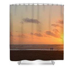 Shower Curtain featuring the photograph Morro Sunset by AJ Schibig