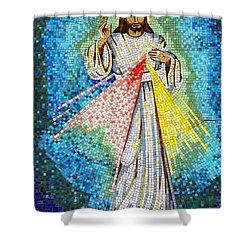 Shower Curtain featuring the photograph Mosaic Of Christ Rising by Joseph Frank Baraba