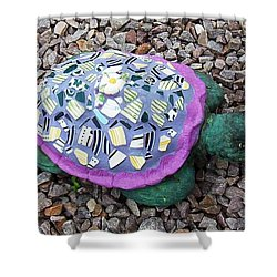Shower Curtain featuring the ceramic art Mosaic Turtle by Jamie Frier