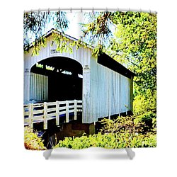 Mosbey Creek Stewart Covered Bridge Shower Curtain