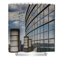 Shower Curtain featuring the photograph Moscone West Balcony by Darcy Michaelchuk