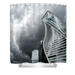 Moscow City And Storm Shower Curtain by Anastasy Yarmolovich