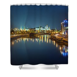 Shower Curtain featuring the photograph Moscow Kremlin At Night by Alexey Kljatov