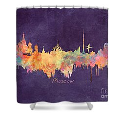 Moscow Russia Skyline City Shower Curtain by Justyna JBJart