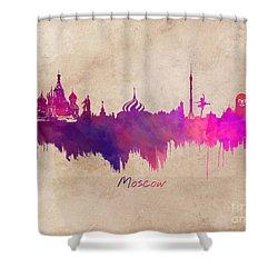 Moscow Russia Skyline Purple Shower Curtain by Justyna JBJart