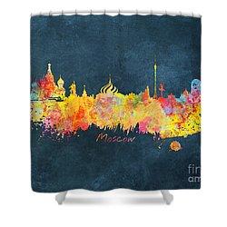 Moscow Skyline  Shower Curtain by Justyna JBJart