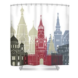 Moscow Skyline Poster Shower Curtain by Pablo Romero