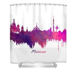 Moscow Skyline Purple Shower Curtain by Justyna JBJart