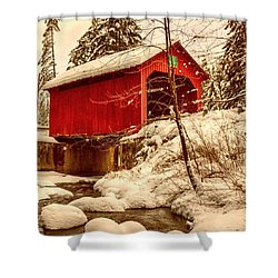 Moseley Covered Bridge In Northfield Shower Curtain by Jeff Foliage