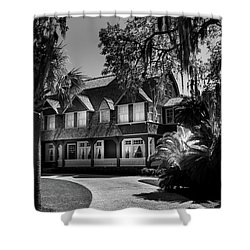 Moss Cottage In Black And White Shower Curtain
