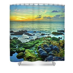Shower Curtain featuring the photograph Moss Covered Rocks At Sunset In Molokai by Tara Turner
