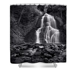 Shower Curtain featuring the photograph Moss Glen Falls - Monochrome by Stephen Stookey