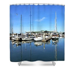Moss Landing Harbor Shower Curtain by Amelia Racca