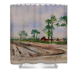 Shower Curtain featuring the painting Moss Landing Pine Trees Farm California Landscape 2 by Xueling Zou