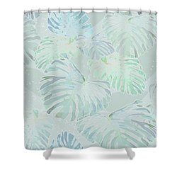 Mossy Faded Monstera Light Shower Curtain