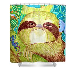 Mossy Sloth Shower Curtain by Nick Gustafson