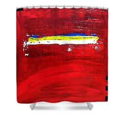 Shower Curtain featuring the painting Mostly Red by Carolyn Repka