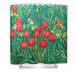 Shower Curtain featuring the painting Mostly Tulips by Kendall Kessler