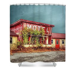 Motel Shower Curtain by Mary Timman