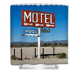 Motel Sign On I-40 And Old Route 66 Shower Curtain