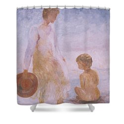 Mother And Baby On The Beach Shower Curtain