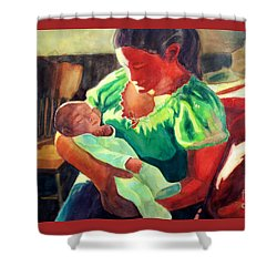 Shower Curtain featuring the painting Mother And Child In Red2 by Kathy Braud