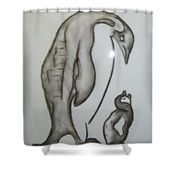 Mother And Child Penguins Shower Curtain
