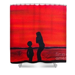 Mother And Child Shower Curtain by Rod Jellison