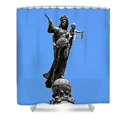 Mother And Child Rooftop Statue Shower Curtain