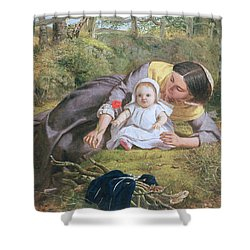 Mother And Child With A Poppy Shower Curtain by Frederick Richard Pickersgil