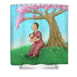 Mother And Child With Cherry Blossoms Shower Curtain