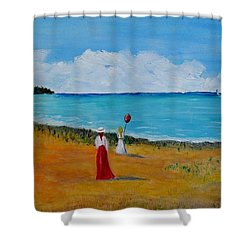 Shower Curtain featuring the painting Mother And Daughter by Marilyn  McNish