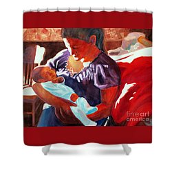 Mother And Newborn Child Shower Curtain