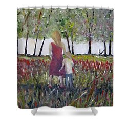 Shower Curtain featuring the painting Mother And Son by Marilyn  McNish