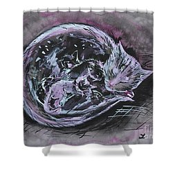 Shower Curtain featuring the painting Mother Cat With Kittens by Zaira Dzhaubaeva