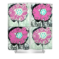 Shower Curtain featuring the mixed media Mother Charm by Ann Calvo