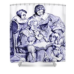 Mother Goose Reading To Children Shower Curtain by Marian Cates