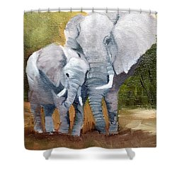 Mother Love Elephants Shower Curtain