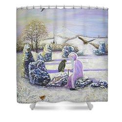 Mother Of Air Goddess Danu - Winter Solstice Shower Curtain