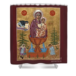 Shower Curtain featuring the painting Mother Of God Life Giving Spring 179 by William Hart McNichols